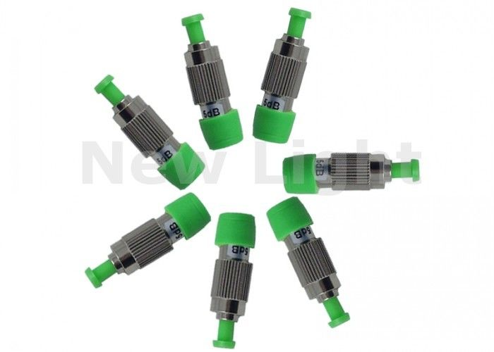 Green Fiber Optic Attenuator Single Mode FC APC Female To Male 5 dB Attenuator