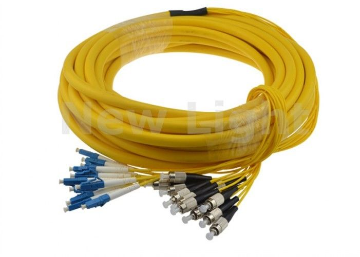 Indoor 12 Core Single Mode Fiber Optic Cable / LC FC Patch Cord With Good Durability